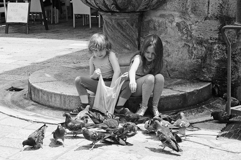 Dubrovnik - Children Feeding Pigeon