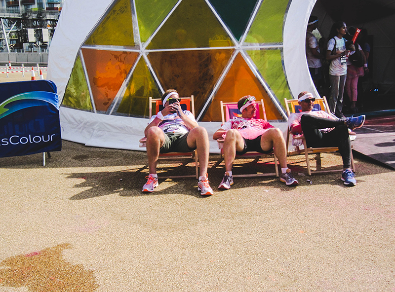 Colour Run London - Relaxing after the race